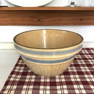 "9.5"" Diameter Very Vintage Yellow ware Mixing Bowl Sky Blue Stripe USA"