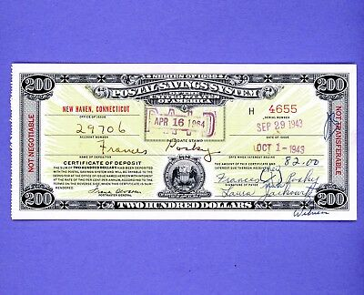 1943 $200 WW11 Series Postal Savings Bond RARE HIGH GRADE BOND