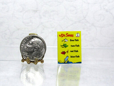 Dollhouse Miniature ONE FISH TWO FISH thin non-opening  Book
