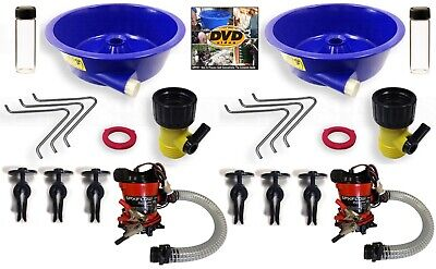 2X BLUE BOWL PAN fine GOLD recovery CONCENTRATOR KITS w/ Pump DVD 2 Vials Legs