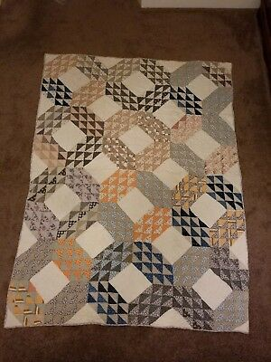 Early 1900's Antique Ocean's Waves Calico Quilt Hand Pieced