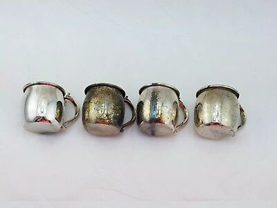 """Vintage Set Of Four F. B. Rogers Silver Plated  Handled Cups 2.5"""" X 3.5"""" #556"""