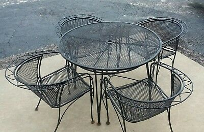 Vintage Wrought Iron Outdoor Patio 5 pc Dining Set