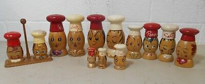 """6 Pair of Wood Vintage Salt and Pepper Shakers Salty and Peppy 5"""" 4"""" 3"""" 2"""""""