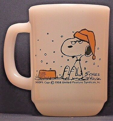 """SNOOPY Anchor Hocking Coffee CUP """"I HATE IT WHEN IT SNOWS ON MY FRENCH TOAST !"""""""