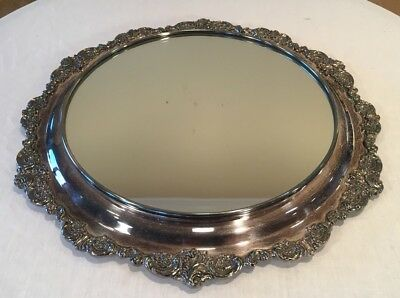 "Antique Wallace Baroque 700 Silver Plated Footed Mirror Plateau 16"" Vintage"