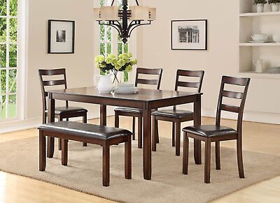 6PC RECTANGULAR DARK OAK FINISH WOOD DINING TABLE w/ LADDERBACK CHAIRS BENCH SET