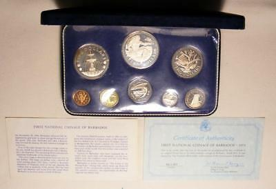 NICE 1973 Barbados 8 Coin Proof Set With SILVER $5 And $10!!