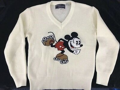 Walt Disney Mickey Mouse Vintage Sweater American Characters Medium Cream V Neck