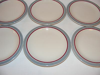 6 Vintage Red Ring Band Restaurant Ware Side Plates Syracuse China Canada