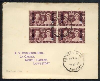 MOROCCO AGENCIES TANGIER 1937 Coronation FDC - skeleton cds................89298