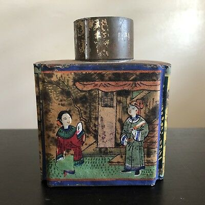 Antique Canton Chinese Tack Kee & Co Wu Lung Tea Box Tin Caddy China Painted Art