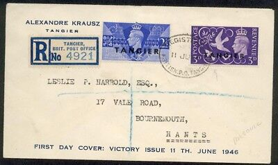MOROCCO AGENCIES TANGIER 1946 Victory commem FDC registered to UK..........89283