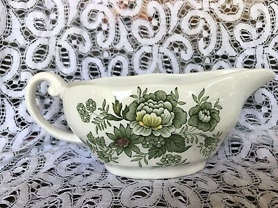 Enoch Wedgwood Tunstall Kent Green China Made in England Gravy Boat