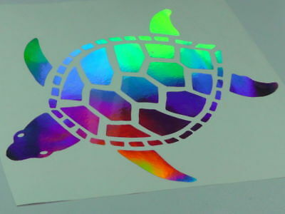 "10"" Holographic Turtle Vinyl Car Window Decal Sticker"