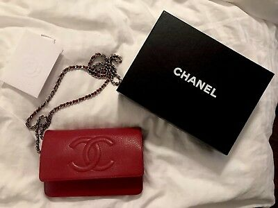 7c7b54d85b07 Authentic Chanel Classic Wallet On Chain WOC Red Caviar With Silver HW