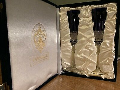 FABERGE BOXED SET of 2 XENIA Cobalt Blue Cut to Clear Crystal Champagne Flutes