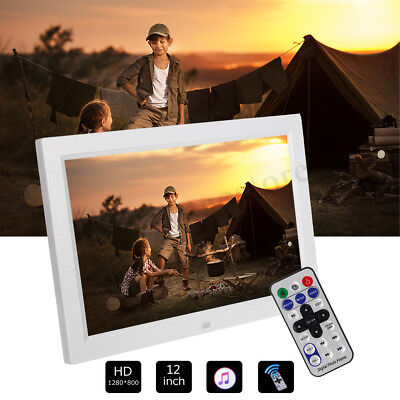 12'' HD 1080P LED Digital Photo Picture Frame Movie Player Remote Control White