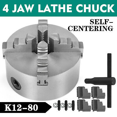 Lathe Chuck K12-80 80mm 4 Jaw Self-Centering External Jaw 3 Inch Wood Turning