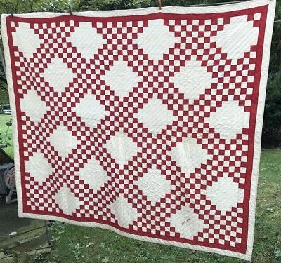 Red & White QUILT Vintage 81 X 76  Dated 1896 Hand Stitched Estate