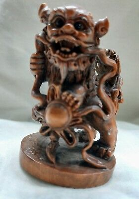 Antique Asian Hand Carved Wooden Foo Lion (foo Dog) Statues very rare
