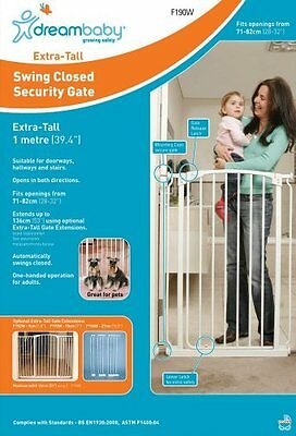 ** DREAMBABY EXTRA-TALL SAFETY GATE ** 1 meter high ** 71cm - 82cm wide * White