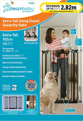 ** DREAMBABY EXTRA-TALL SAFETY GATE ** 1 meter high ** 71cm - 82cm wide * BLACK