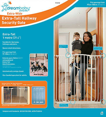 * DREAMBABY Xtra TALL and WIDE SAFETY GATE ** 1M high ** 97-108cm wide ** White