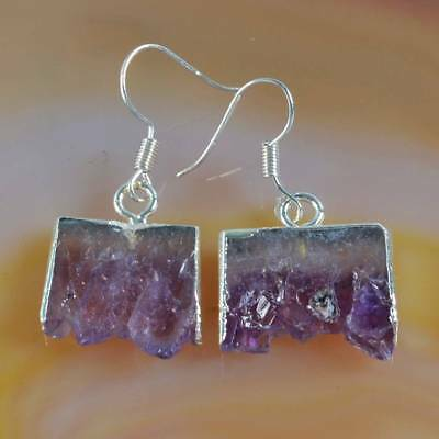 Rare Amethyst Druzy Slice Dangle Earrings Silver Plated H120463