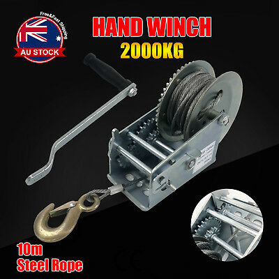 2000KG 10M Hand Winch 2-Speed Synthetic Strap Manual Car Boat Trailer 4WD D