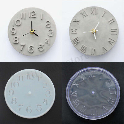 Cement Concrete Silicone Mold DIY Craft Clock Making Clay Plaster Mould Handmade