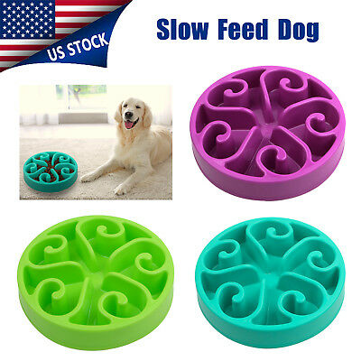 Non Slip Pet Dog Puppy Slow Down Eating Feeding Bowl Anti Choke Dish Food US