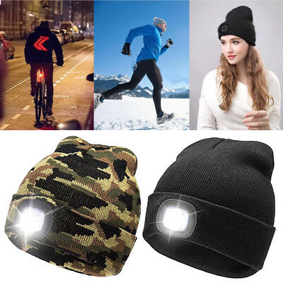5-LED Light Cap Knit Beanie Hat USB Rechargeable Hunting Camping Outdoor j6GB
