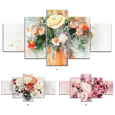 Rose Flower Bouquet Canvas Print Painting Framed Home Decor Wall Art Poster 5Pcs