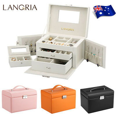 Large Jewellery‎ Box Makeup Storage Organiser Holder Portable Travel Case Holder