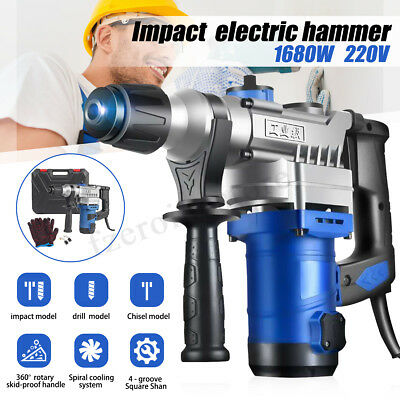 2000W 220V Electric Demolition Impact Hammer Drill Breaker Chisels 360º 800rpm