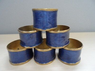 Set of 6 Vintage Gold Tone and Blue Napkin Rings    RD081106