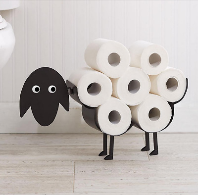 Black Decorative Sheep Toilet Paper Holder Free-Standing Bathroom Tissue Storage