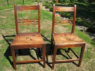 Georgian Mahogany Bar Back Hall or Dining Chairs with Solid Seats - A Pair