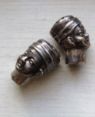 DUTCH BOY - TWO Pepper Pot Shaker 800 Sterling Silver Vintage Heads Only Antique