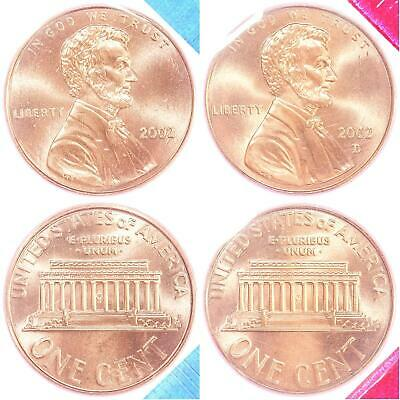 2002 P D Lincoln Memorial Cent BU US Mint Cello 2 Coin Penny Set