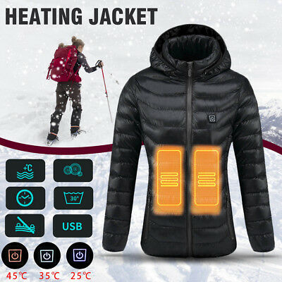 AU Rechargeable Electric Women Heating USB Heated Warm Jacket Coat Winter Warmer