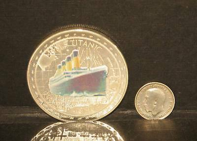 Rare Silver Plated Titanic 100 years coin + 1912 George V silver Threepence