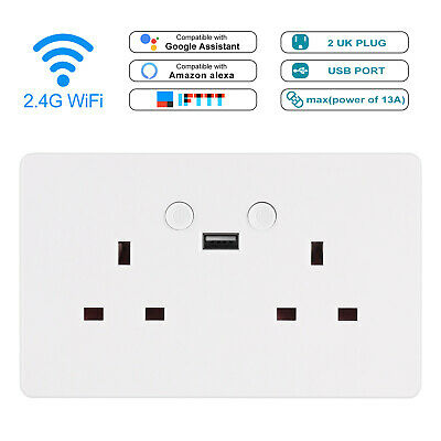 Smart WiFi Wall Socket Double USB Plug Voice APP Remote Control Outlet Wireless