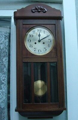 ORIGINAL 1930's ART DECO STRIKING WALL CLOCK MAHOGANY + BEVELED GLASS CASE pwo