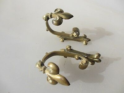 Antique Brass Curtain Tie Backs Coat Hooks French Fleur Hangers Old Victorian x2