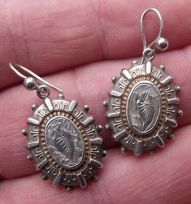 Pair Of Antique Victorian Sterling Silver 1881 Earrings.