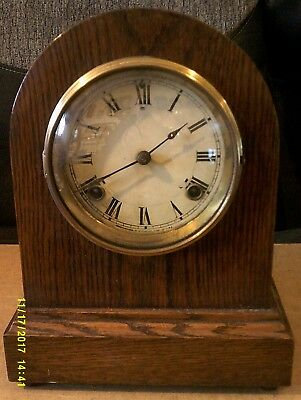 Rare Antique Waterbury Elmont Round Gothic Oak 8 Day Mantle Clock, Working Order