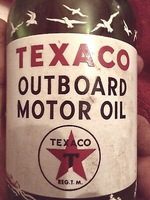 Texaco Outboard Motor Oil glass bottle - SAE 40  USA gift old vintage ACL
