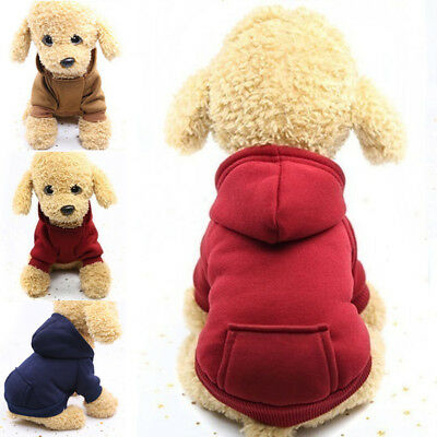 NEW Dog Pet Coat Jacket Hoodie Hooded Pocket Outwear Clothes Winter Soft Warm